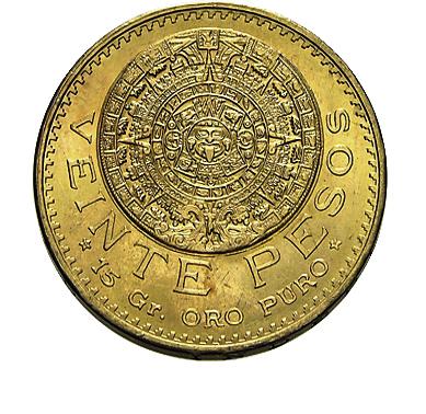 20 Pesos Goldmünze Mexiko Centenario Aztekenkalender