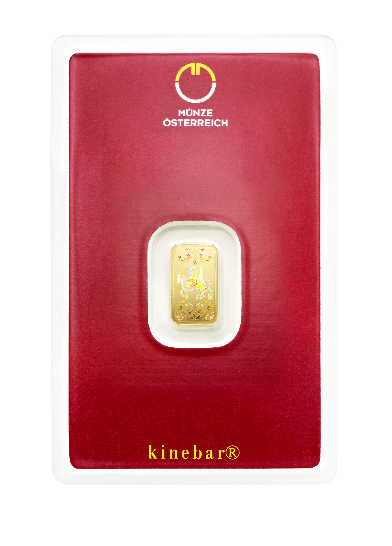 1g Lipizzaner Goldbarren Kinebar