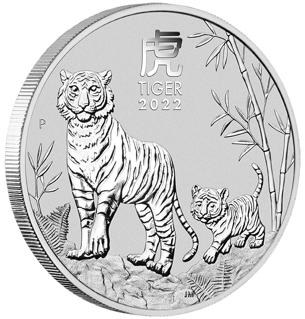 1 Unze (oz) Lunar 3 Tiger 2022 Silbemünze