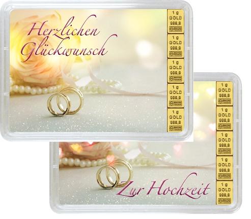 """5 g Goldbarren Geschenkbarren """"Hochzeit"""""""
