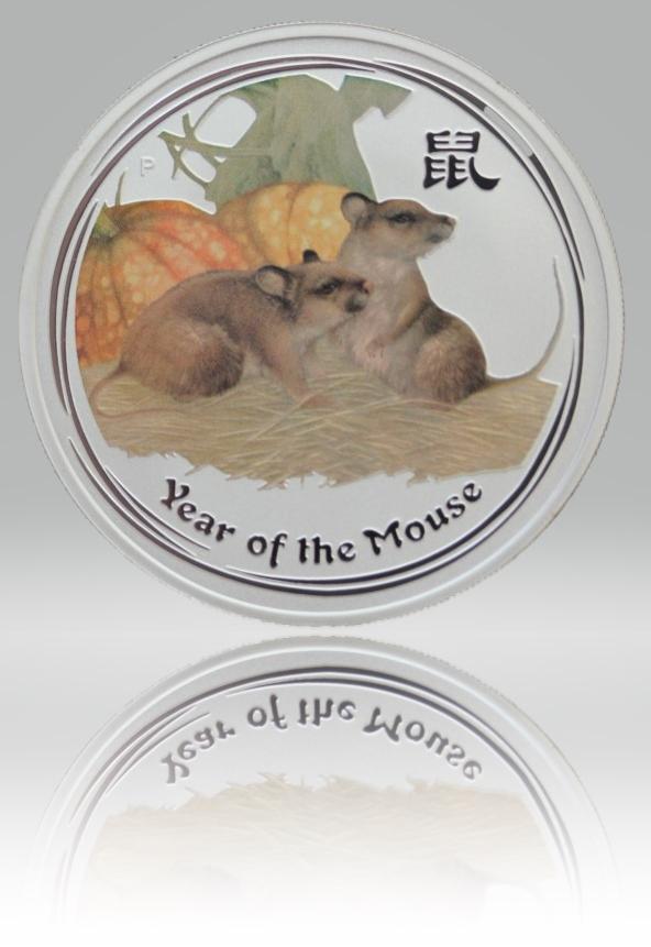 1 Unze (oz) Lunar 2 Maus 2008 Silbermünze coloriert