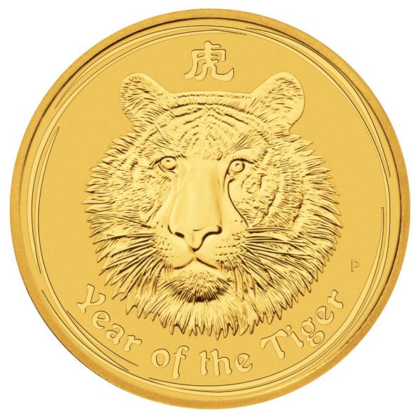 1/4 Unze (oz) Lunar 2 Tiger 2010 Goldmünze