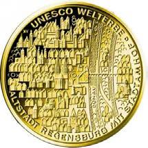 """100-Euro-Goldmünze 2016 """"UNESCO Welterbe – Altstadt Regensburg"""""""