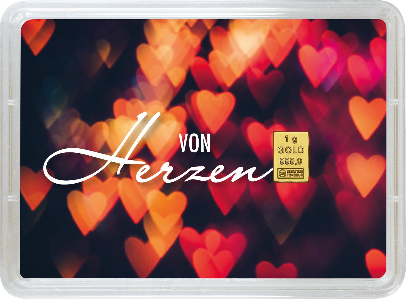"""1 g Goldbarren Geschenkbarren """"In Liebe"""""""