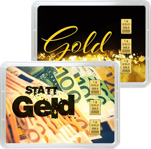 """3 g Goldbarren Geschenkbarren """"Gold statt Geld"""""""