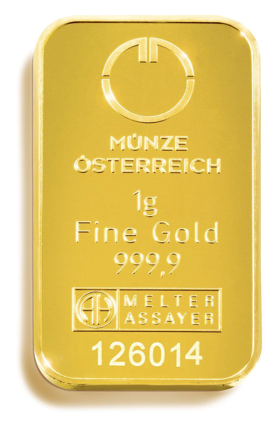 1 g Lipizaner Goldbarren