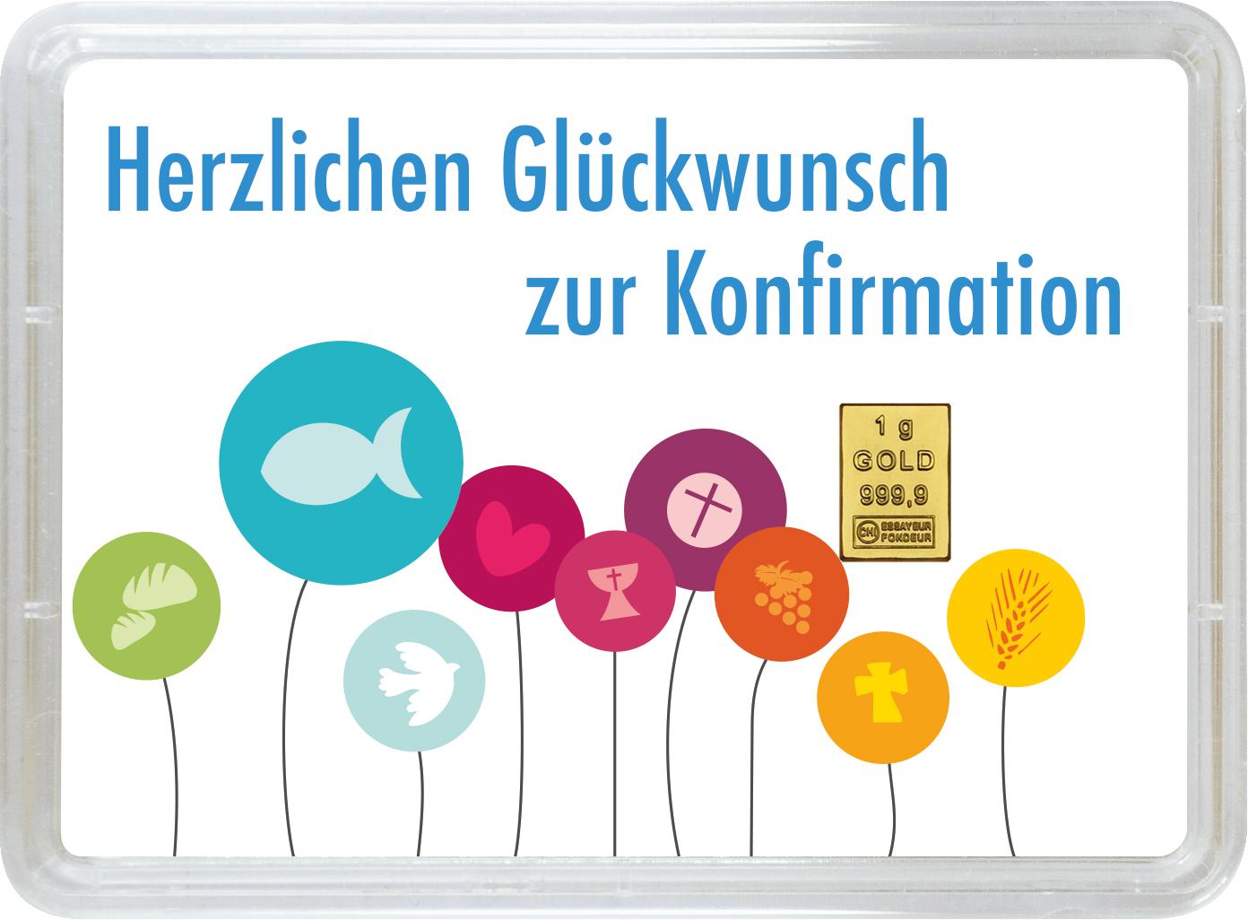 """1 g Goldbarren Geschenkbarren """"Konfirmation"""""""