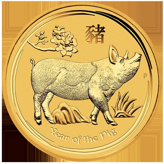 1/20 Unze (oz) Lunar 2 Schwein 2019 Goldmünze