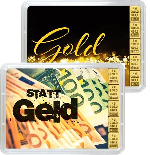 """5 g Goldbarren Geschenkbarren """"Gold statt Geld"""""""