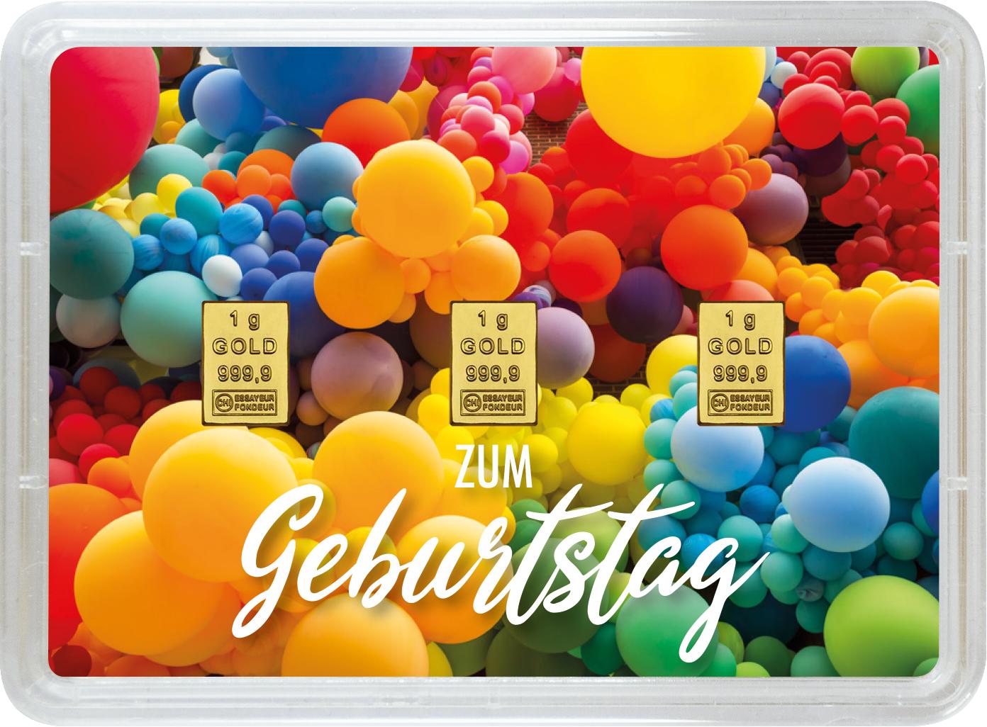 """3 g Goldbarren Geschenkbarren """"Geburtstag"""""""