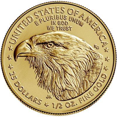 2021 american eagle gold half ounce bullion coin reverse new